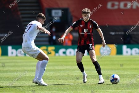 David Brooks (7) of AFC Bournemouth on the attack battles for possession with Vitaly Janelt (27) of Brentford during the EFL Sky Bet Championship match between Bournemouth and Brentford at the Vitality Stadium, Bournemouth