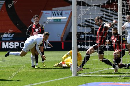 Steve Cook (3) of AFC Bournemouth clears the ball off the line from a shot at goal by Sergi Canos (7) of Brentford during the EFL Sky Bet Championship match between Bournemouth and Brentford at the Vitality Stadium, Bournemouth