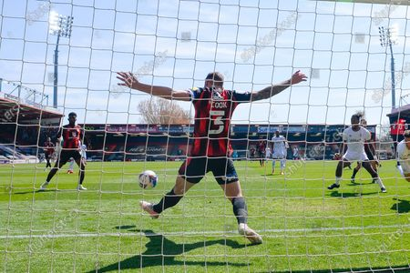 Steve Cook (3) of AFC Bournemouth clears the ball off the line after a shot at goal by Sergi Canos (7) of Brentford during the EFL Sky Bet Championship match between Bournemouth and Brentford at the Vitality Stadium, Bournemouth