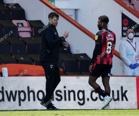Stock Photo of Jonathan Woodgate manager of Bournemouth and Jefferson Lerma of Bournemouth.