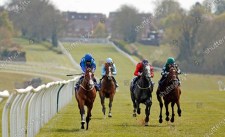 DANCING KING (left, Silvestre de Sousa) beats DUKE OF VERONA (2nd right) and LIVERPOOL KNIGHT (right) in The Bet At Racing TV Handicap Leicester