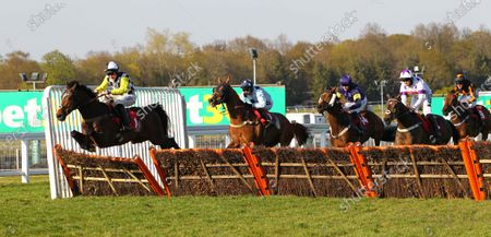 Scaramanga and Bryan Carver jump the last to complete a Sandown treble for trainer Paul Nicholls in the Bet365 Handicap Hurdle at Sandown.