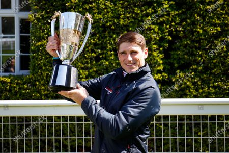 Harry Skelton celebrates his National Hunt Jockeys Championship 2020-2021 win at Sandown.