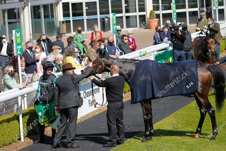 Nicky Henderson gives Altior a pat after a gallant second in the Bet365 Celebration Chase at Sandown.