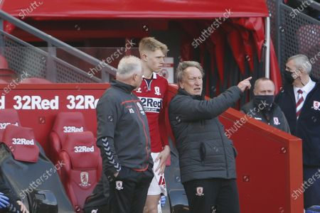 Middlesbrough manager Neil Warnock prepares to introduce Middlesbrough forward Josh Coburn during the EFL Sky Bet Championship match between Middlesbrough and Sheffield Wednesday at the Riverside Stadium, Middlesbrough