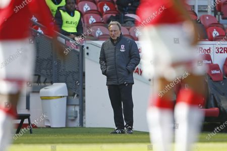 Middlesbrough manager Neil Warnock during the EFL Sky Bet Championship match between Middlesbrough and Sheffield Wednesday at the Riverside Stadium, Middlesbrough