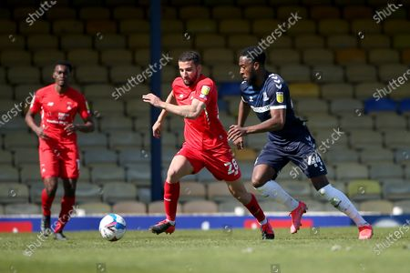 Nick Freeman of Leyton Orient and Nathan Ferguson of Southend United during Southend United vs Leyton Orient, Sky Bet EFL League 2 Football at Roots Hall on 24th April 2021