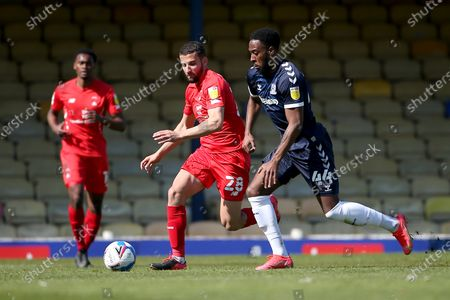 Stock Photo of Nick Freeman of Leyton Orient and Nathan Ferguson of Southend United during Southend United vs Leyton Orient, Sky Bet EFL League 2 Football at Roots Hall on 24th April 2021