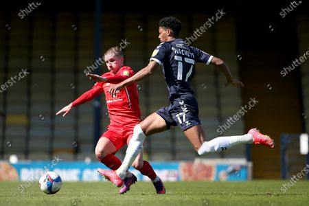 Reeco Hackett-Fairchild of Southend United and Sam Ling of Leyton Orient during Southend United vs Leyton Orient, Sky Bet EFL League 2 Football at Roots Hall on 24th April 2021