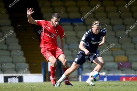 Stock Picture of Nick Freeman of Leyton Orient and Kyle Taylor of Southend United during Southend United vs Leyton Orient, Sky Bet EFL League 2 Football at Roots Hall on 24th April 2021