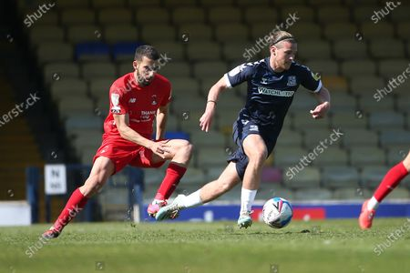 Nick Freeman of Leyton Orient and Kyle Taylor of Southend United during Southend United vs Leyton Orient, Sky Bet EFL League 2 Football at Roots Hall on 24th April 2021
