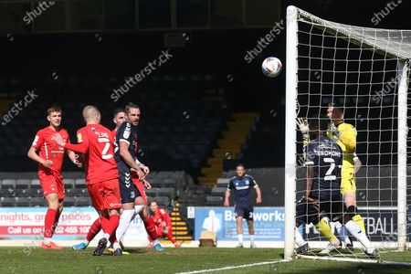 Sam Ling of Leyton Orient hits the crossbar during Southend United vs Leyton Orient, Sky Bet EFL League 2 Football at Roots Hall on 24th April 2021