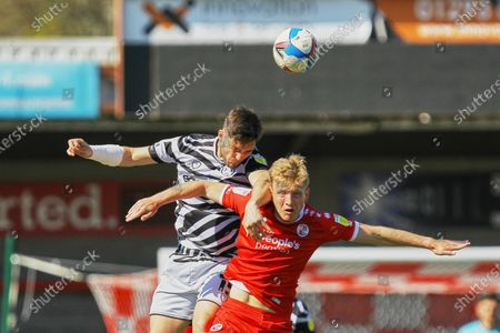 Jordan Moor-Taylor of Forest Green Rovers and Josh Wright of Crawley Town  during Crawley Town vs Forest Green Rovers, Sky Bet EFL League 2 Football at Broadfield Stadium on 24th April 2021