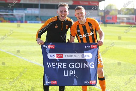 James Scott and Greg Docherty Hull City's scottish contingent during the EFL Sky Bet League 1 match between Lincoln City and Hull City at Sincil Bank, Lincoln