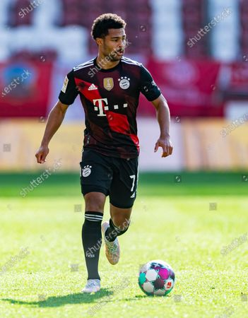 Stock Photo of Serge Gnabry of Bayern Munich during the German Bundesliga soccer match between FSV Mainz 05 and Bayern Munich in Mainz, Germany, 24 April 2021.