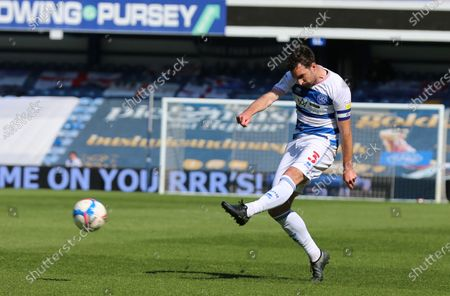 Lee Wallace of Queens Park Rangers shot goes wide during Queens Park Rangers vs Norwich City, Sky Bet EFL Championship Football at The Kiyan Prince Foundation Stadium on 24th April 2021