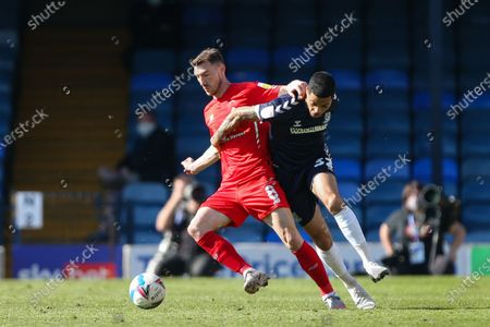 Stock Image of Louis Walsh of Southend United and Craig Clay of Leyton Orient tussle