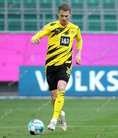 Dortmund's Lukasz Piszczek in action during the German Bundesliga soccer match between VfL Wolfsburg and Borussia Dortmund in Wolfsburg, Germany, 24 April 2021.