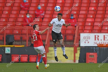 Peterborough Utd Defender Nathan Thompson (4)  heads the ball during the EFL Sky Bet League 1 match between Charlton Athletic and Peterborough United at The Valley, London