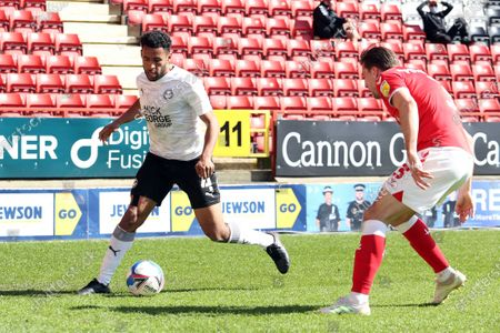 Nathan Thompson Peterborough United in action against Charlton Athletic