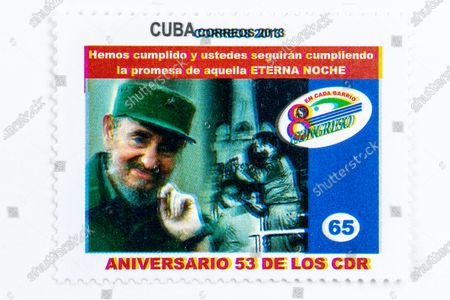 Fidel Castro in vintage 'Cuba Correos' postal stamp. 53rd Anniversary of the CDR (Committee of Defence of the Revolution). Year 2013