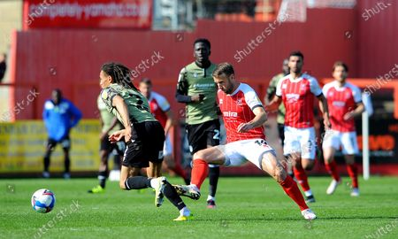 Stock Image of Miles Welch-Hayes of Colchester United is challenged by Andy Williams of Cheltenham Town- Mandatory by-line: Nizaam Jones/JMP