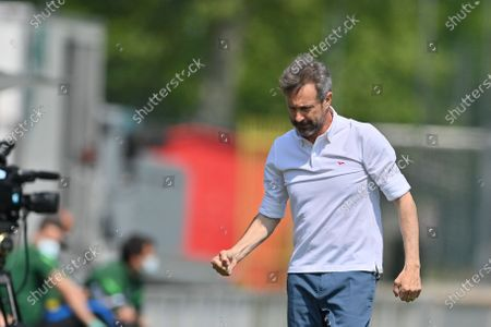 Maurizio Ganz (Head Coach AC Milan) celebrate the first goal during the Italian Cup semifinals second leg match between AC Milan and FC Internazionale at Vismara sports center (Milan), Italy