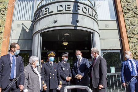 Jacqueline Gourault, Minister of Territorial Cohesion, Etienne Guyot, President of the Occitanie region, Jean Castex, Prime Minister, Jean Luc Moudenc Mayor of Toulouse  The Prime Minister visits the central police station to pay tribute to the police officer killed in Rambouillet.