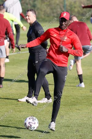 Standard's head coach Mbaye Leye pictured during a training session of Standard de Liege, Saturday 24 April 2021 in Tubize, ahead of the final of the 'Croky Cup' Belgian cup.