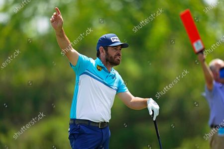 Louis Oosthuizen of South Africa follows his shot on the second tee during the third round of the PGA Zurich Classic golf tournament at TPC Louisiana in Avondale, La