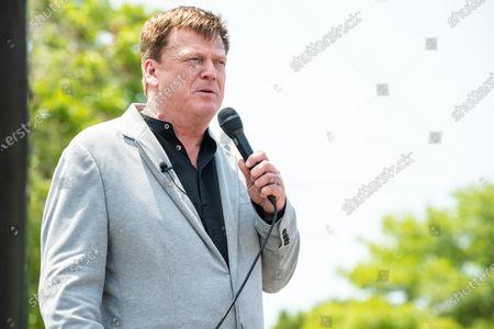 Patrick Byrne speaks at the Save America Patriot Rally on April 24, 2021 in Bradenton, FL.