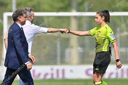 Maurizio Ganz (Head Coach AC Milan) and Referee Mrs. Maria Sole Ferrieri Caputi