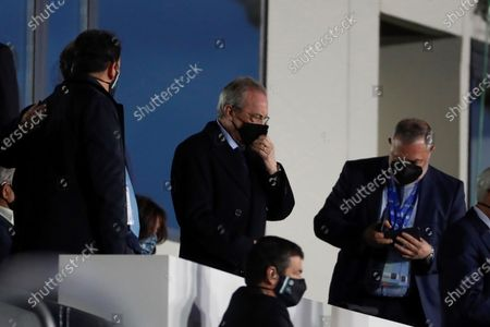 Stock Picture of Real Madrid's president Florentino Perez attends the Spanish LaLiga soccer match between Real Madrid and Real Betis at Alfredo Di Stefano stadium in Madrid, Spain, 24 April 2021.