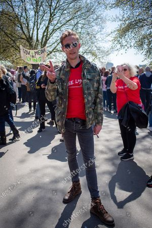 Laurence Fox at Speakers Corner before the Freedom March in London on 24 April 2021