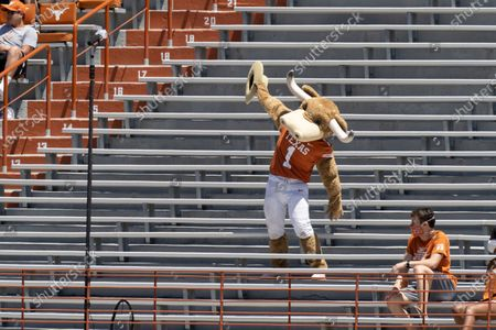 The Texas mascot BEVO cheers on the team during the first half of the Texas Orange and White Spring Scrimmage in Austin, Texas