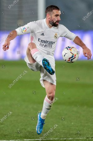 Stock Picture of Real Madrid's Dani Carvajal controls the ball during the Spanish La Liga soccer match between Real Madrid and Betis at the Alfredo di Stefano stadium in Madrid, Spain
