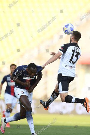 "Simy Simeon Tochukwu Nwankwo (Crotone)Mattia Bani (Parma)           during the Italian ""Serie A"" match between Parma 3-4 Crotone at  Ennio Tardini Stadium Stadium in Parma, Italy."