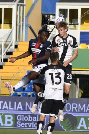 "Simy Simeon Tochukwu Nwankwo (Crotone)Daan Dierckx (Parma)Mattia Bani (Parma)           during the Italian ""Serie A"" match between Parma 3-4 Crotone at  Ennio Tardini Stadium Stadium in Parma, Italy."