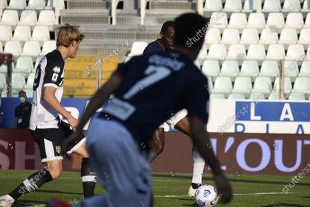 "Simy Simeon Tochukwu Nwankwo (Crotone)Daan Dierckx (Parma)  he scored the second goal for his team         during the Italian ""Serie A"" match between Parma 3-4 Crotone at  Ennio Tardini Stadium Stadium in Parma, Italy."