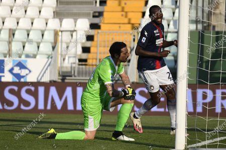 "Simy Simeon Tochukwu Nwankwo (Crotone)Simone Colombi (Parma)    celebrates after scoring his team's second goal       during the Italian ""Serie A"" match between Parma 3-4 Crotone at  Ennio Tardini Stadium Stadium in Parma, Italy."