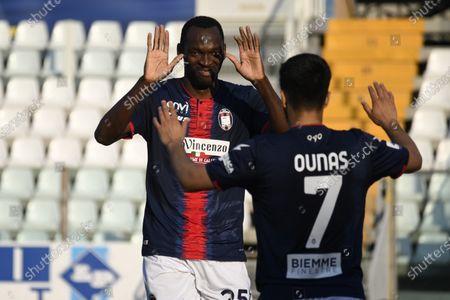 "Simy Simeon Tochukwu Nwankwo (Crotone)Adam Ounas (Crotone)  celebrates after scoring his team's second goal         during the Italian ""Serie A"" match between Parma 3-4 Crotone at  Ennio Tardini Stadium Stadium in Parma, Italy."