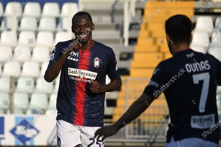 "Simy Simeon Tochukwu Nwankwo (Crotone)    celebrates after scoring his team's second goal       during the Italian ""Serie A"" match between Parma 3-4 Crotone at  Ennio Tardini Stadium Stadium in Parma, Italy."