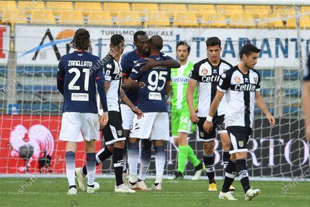 "Simy Simeon Tochukwu Nwankwo (Crotone)   celebrates after scoring his team's fourth goal        during the Italian ""Serie A"" match between Parma 3-4 Crotone at  Ennio Tardini Stadium Stadium in Parma, Italy."