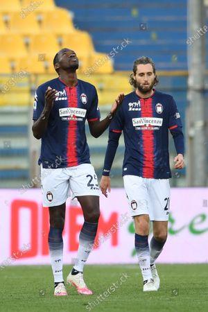 "Simy Simeon Tochukwu Nwankwo (Crotone)Niccolo Zanellato (Crotone)    celebrates after scoring his team's fourth goal       during the Italian ""Serie A"" match between Parma 3-4 Crotone at  Ennio Tardini Stadium Stadium in Parma, Italy."