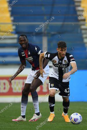 "Maxime Busi (Parma) Simy Simeon Tochukwu Nwankwo (Crotone)           during the Italian ""Serie A"" match between Parma 3-4 Crotone at  Ennio Tardini Stadium Stadium in Parma, Italy."