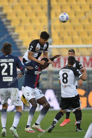 "Stock Image of Yordan Osorio (Parma)Simy Simeon Tochukwu Nwankwo (Crotone)Alberto Grassi (Parma)           during the Italian ""Serie A"" match between Parma 3-4 Crotone at  Ennio Tardini Stadium Stadium in Parma, Italy."