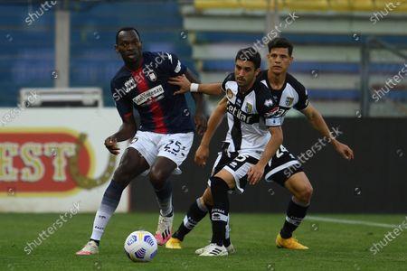 "Simy Simeon Tochukwu Nwankwo (Crotone)Gaston Brugman Duarte  (Parma)Yordan Osorio (Parma)           during the Italian ""Serie A"" match between Parma 3-4 Crotone at  Ennio Tardini Stadium Stadium in Parma, Italy."