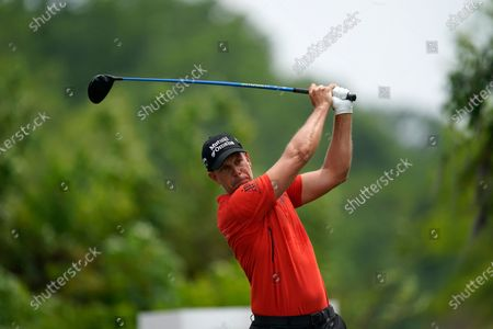 Henrik Stenson hits off the second tee during the third round of the PGA Zurich Classic golf tournament at TPC Louisiana in Avondale, La