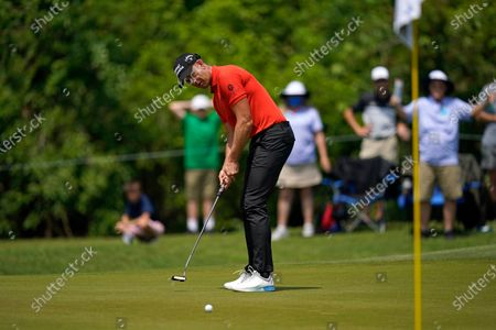 Stock Picture of Henrik Stenson putts on the first green during the third round of the PGA Zurich Classic golf tournament at TPC Louisiana in Avondale, La