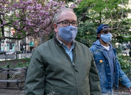 Scott Stringer arrives for rally by coalition of union members and activists organized to support his bid for mayor at City Hall Park.